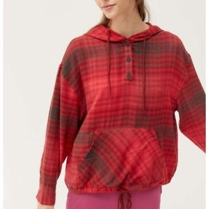 Urban Outfitters Alex Popover Hooded Flannel Shirt